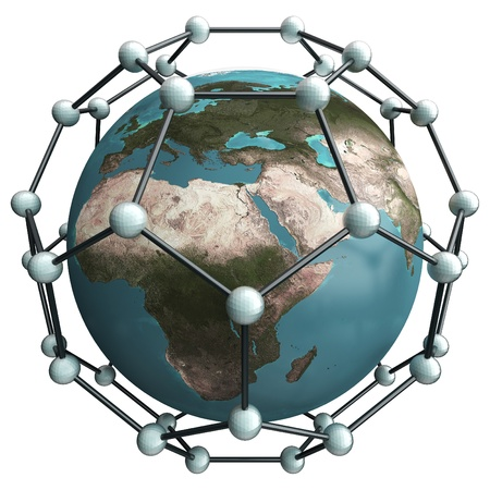 isolated earth whith nano net structure Stock Photo