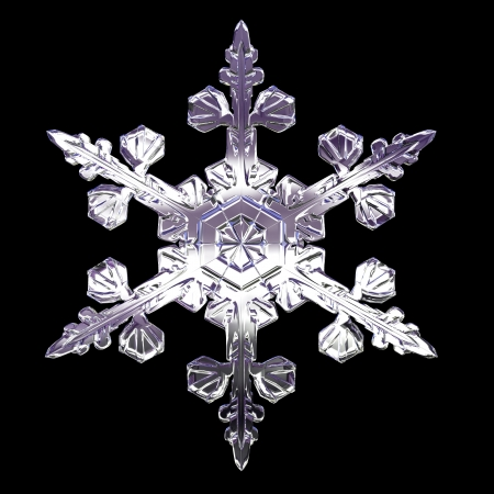 3d isolared snowflake on the black background