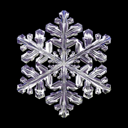 3d isolated snowflake on the black background 2 photo