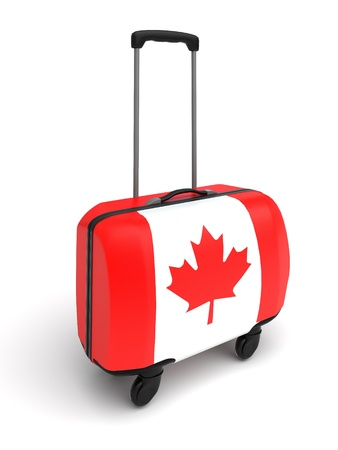 canadian flag: suitcase whith canadian flag