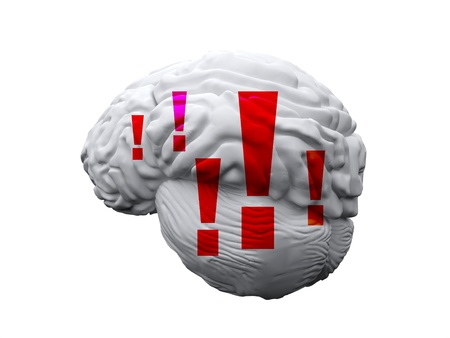 isolated brain with exclamation mark Stock Photo