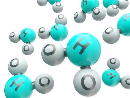h20: h20 water  isolated molecules on the white background