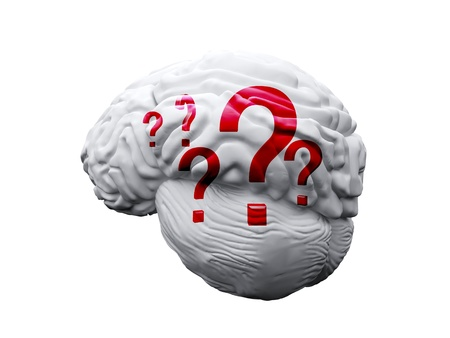 brain with question marks on the white photo