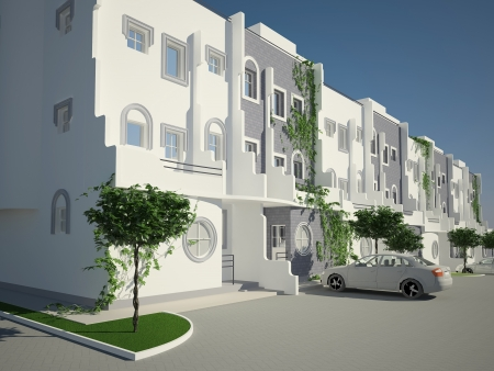 townhome: 3d architecture rendered townhouse building