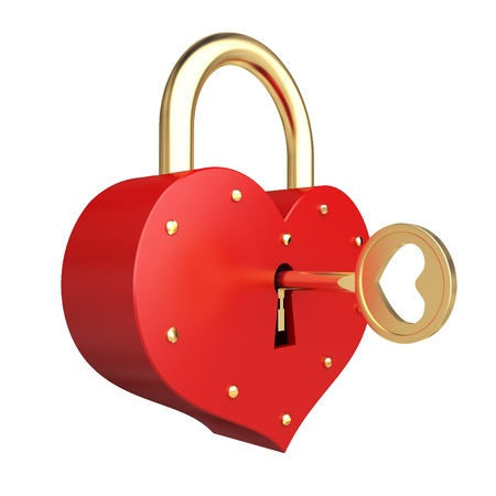 wedding symbol: romantic heart padlock whith golden key on the white background