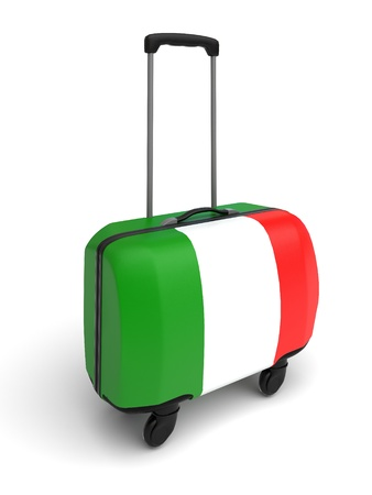 isolated turist suitcase whith Italy flag