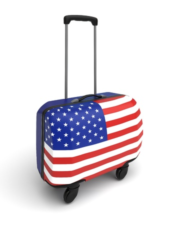 isolated suitcase whith usa flag on the white background photo
