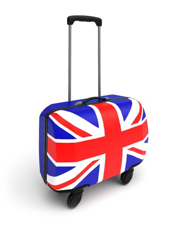 a suitcase whith the flag of Great Britain
