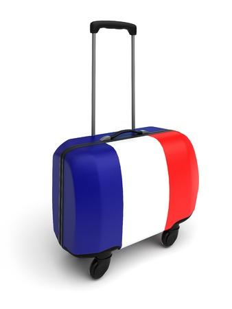 isolated turist suitcase whith france flag photo