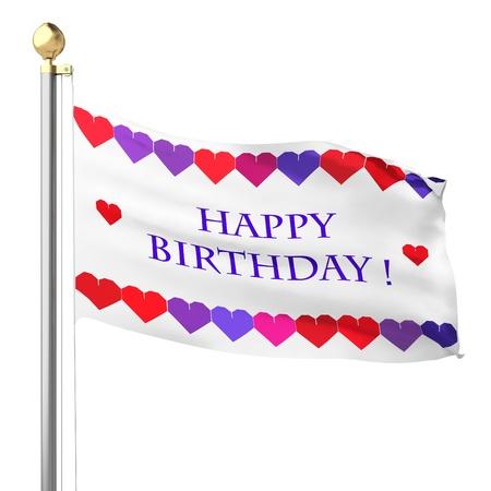 fonds: happy birthday silk flag on the white background