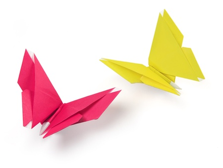 butterflies origami of paper on the white background Stock Photo