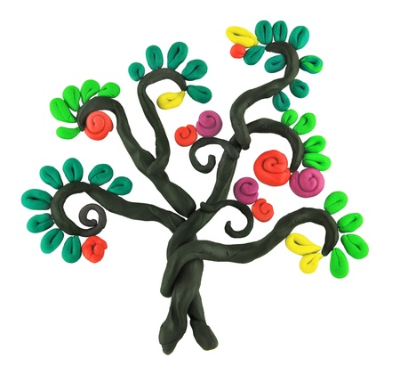 miracle tree: miracle story isolated plasticine tree Stock Photo