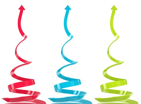 set of three spiral growth arrows on the white background