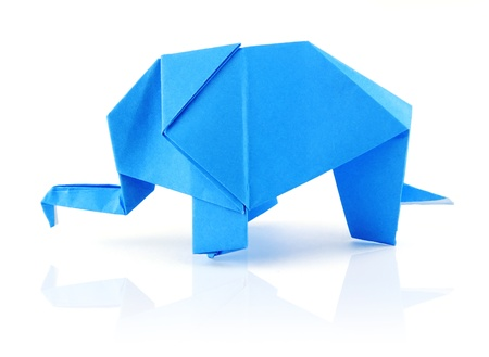 origami blue elephant on the white background