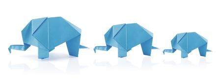 elephant family in origami tehnique on the white background Stock Photo