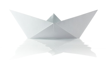 Paper origami boat on the white background Stock Photo - 14528064
