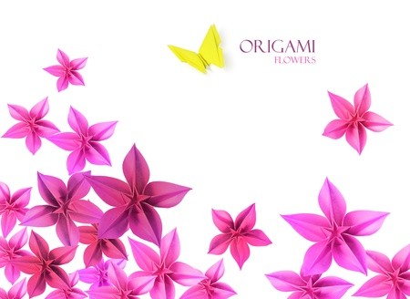 Origami paper flowers bottom decoration whith a butterfly
