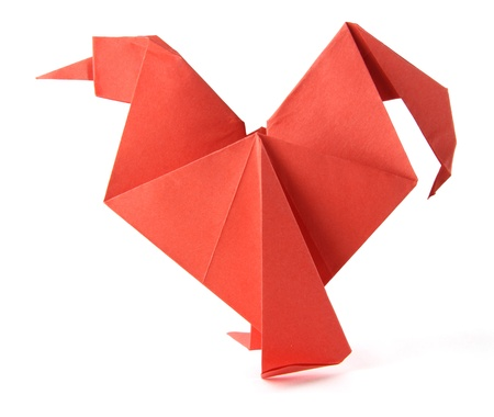 morning  cock: Origami red morning cock on the white background