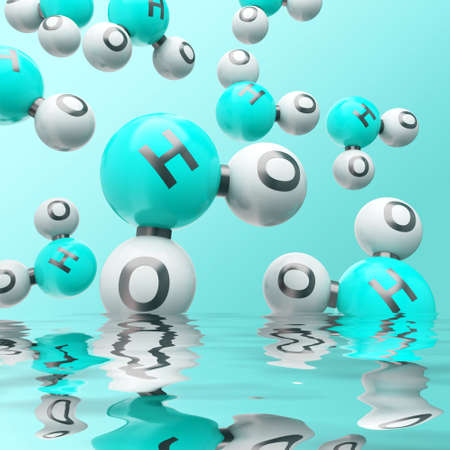 h20: h20 water molecules on the gradient background Stock Photo
