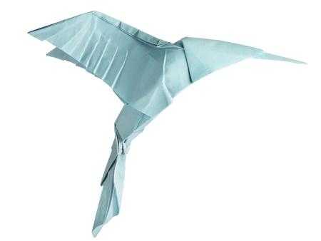 humming: origami de vuelo del colibr� aislado en un blanco backgrond