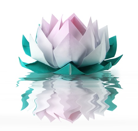 Origami lotus on a white water background Stock Photo
