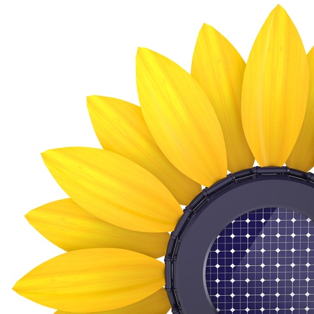 3d sunflower solar cell on a white background