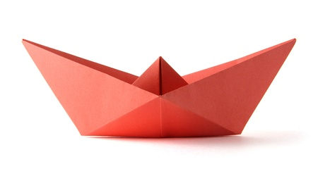 paper origami red boat on the white background Stock Photo - 14528069