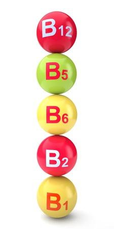 Vitamin b on a white background