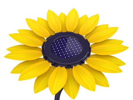 3d solar cell sunflower on a white background photo