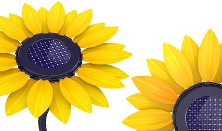 3d set of solar cell sunflower on a white background photo