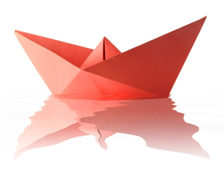 Paper origami red boat on the water Stock Photo - 14850293