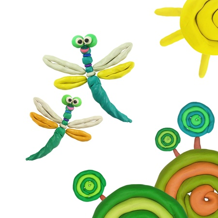 Plasticine flying around the sun summer dragonflies