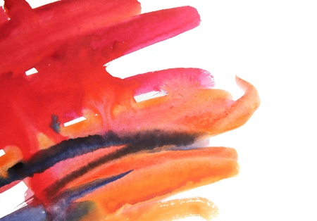 Watercolor smears painting on the white paper