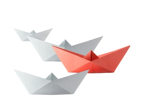 Origami isolated competition boats on the white background