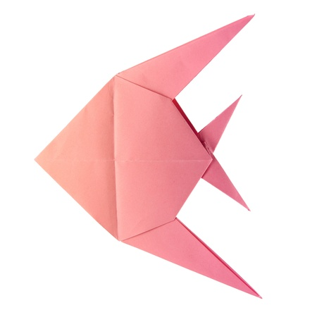 origami pink tropical fish on the white background Stock Photo