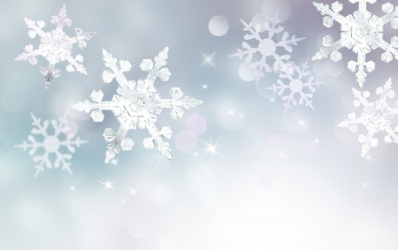 Abstract winter snowflake bokeh background