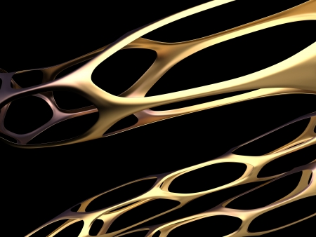 3d golden abstract bionic fiber on a black background Stock Photo - 15704490