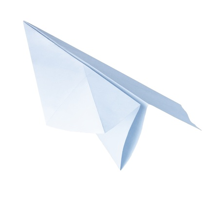 origami paper airplane on the white background photo
