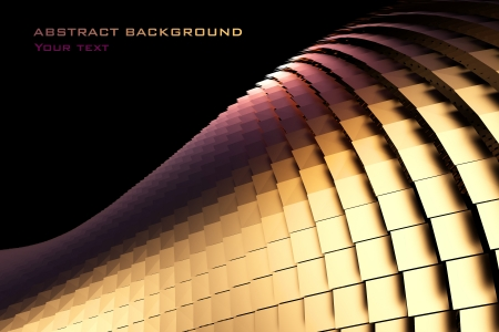 bionic: 3d golden abstract bionic structure on a black background