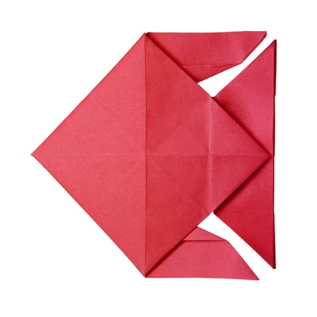 Origami red geometric fish on the white background