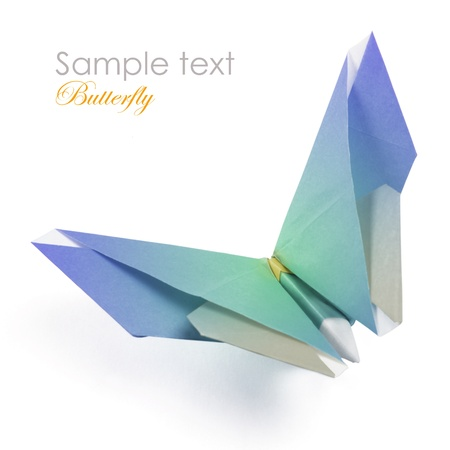 Blue origami butterfly on the white background