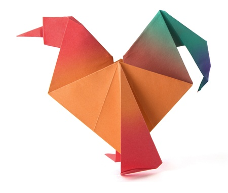 Origami red morning cock on the white background