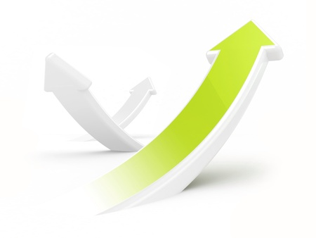 3d green growth arrows on a white background