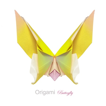 Origami yellow butterfly on a white background Stock Photo - 17048372