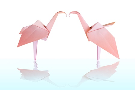 Origami pink paper loving flamingo couple in the water photo