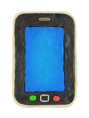 Plasticine cartoon smartphone on a white background photo
