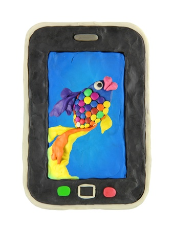 Plasticine cartoon smart phone with fish background photo