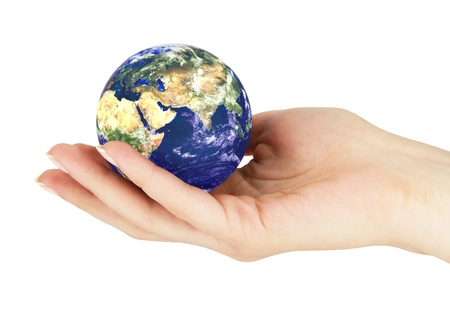 Hand with earth on a white background Stock Photo - 17728440