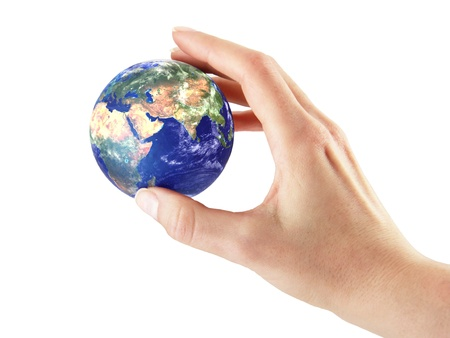 Hand with earth on a white background Stock Photo - 17728441