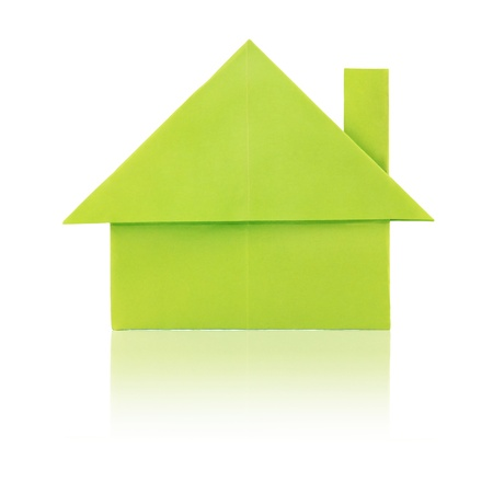 Green eco paper house on a white background Stock Photo - 17855739